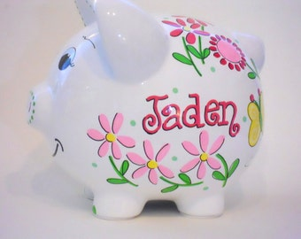 Personalized Piggy Bank Daisy Flowers and Butterflies with Pinks and Yellow