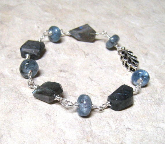 Labradorite Bracelet,  Kyanite Bracelet,  Hand Wire Wrapped,  Sterling Silver,  Blue Natural Stones, Handmade Jewelry