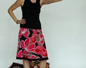 Hibiscus Skirt, Stretch Cotton Sateen A-line Skirt with Ruffle Detail