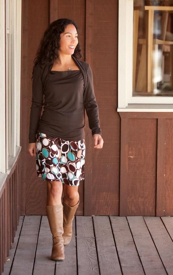 Funky Circle Print Jersey A-line Skirt, Reflection Skirt
