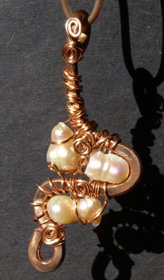Copper pendant with Fresh Water Pearls, Wire Wrap, Free Form