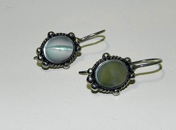 Vintage Earrings Sterling Silver and Mother Of Pearl Earrings - on sale