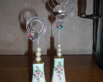 Salt and pepper shaker photo holder SHABBY CHIC vintage, repurposed, upcycled