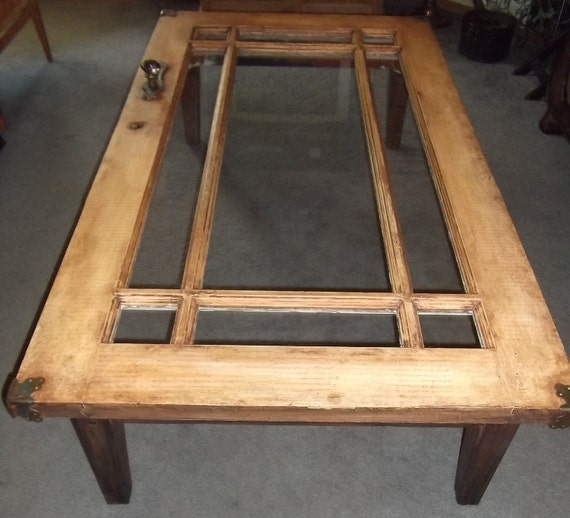 Coffee Table Vintage Wood Door With Windows Ooak