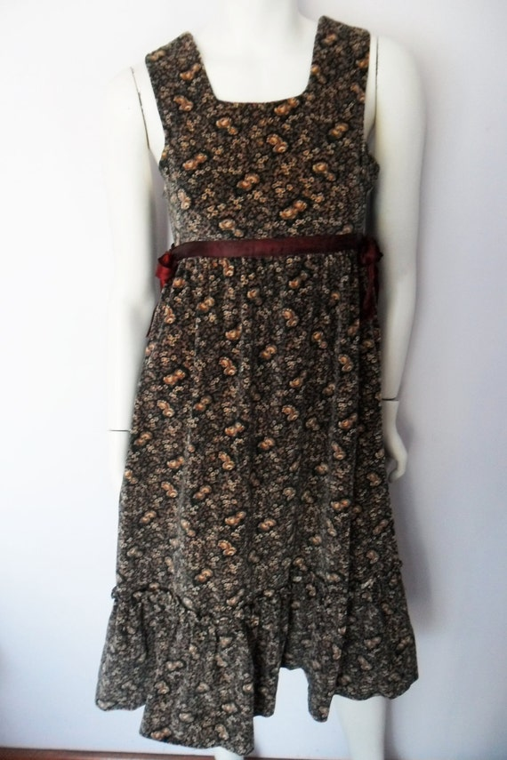 Vtg.70s Pea-Pod Label Velvet Victorian Rose Print Ribbon Tie Prairie Jumper Dress.S.Bust 34.Waist 28.