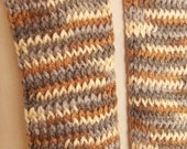 Hat and Scarf Set, Youth Sized, Ombre Gray, Brown, and Cream Luxurious Soft Yarn
