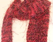 ON SALE Eyelash Yarn Scarf, Fuschia, Purple, and Brown, Fringe, Shimmer, Metallic, Fringe