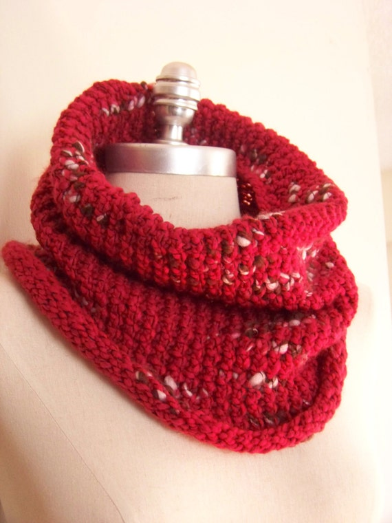 Red Cowl, Knit Scarf, Neckwarmer, Cranberry Red Chunky Knit with Brown and White, Winter Accessories, Gifts for Her, READY TO SHIP