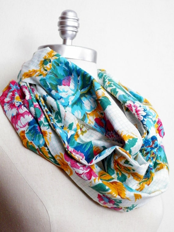 Fabric Scarf Infinity Loop Floral Print Vintage Inspired with Aqua,Tangerine, Coral, and White with Grid Pattern