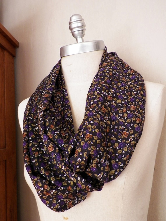 ON SALE Infinity Scarf, Floral Print Fabric in Black, Purple, and Olive Green