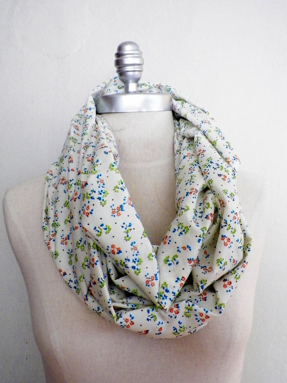 Infinity Scarf, Floral Print, Lightweight, Loop Scarf White with Vintage Inspired Tiny Flowers in Blue, Green, and Orange