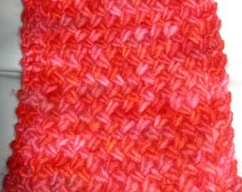 Hand-Knit Cris Cross Scarf - Red Malabrigo Tonal Yarn