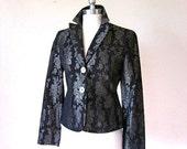 Black Metal vintage Designer Silver Thred Metallic Embroidered Jacket Small Medium