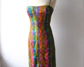 vintage bombshell 1960s Wiggle Dress spaghetti strap bright multicolored stripes and print matching silk scarf