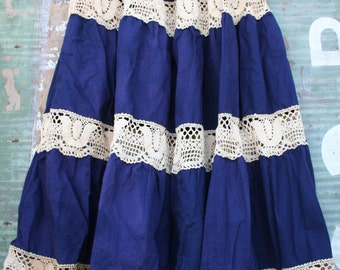 vintage 70s Linen and Lace blue crocheted circle skirt