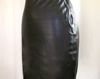 vintage Gianni Versace Buttery soft Leather Skirt w/ Hip Peep holes Free US shipping made in ITALY