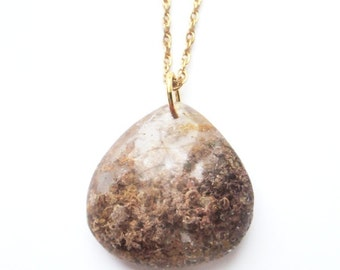 One of a Kind Mineral Quartz Necklace on Vintage Gold Filled Chain