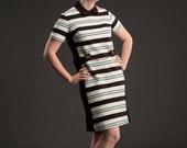Vintage 1960s Dress Mod Turquoise Stripes Mad Men Spring Fashions