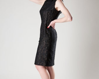 Vintage 1960s Dress - Black Lace Nude Illusion - Cocktail Fashions