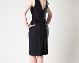 Vintage 1960s Dress Lanz Black Asymmetrical Crepe Cocktail Fashions 1950s