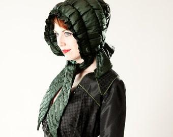 Antique Victorian Silk Bonnet Hat - Hand Stitched Hunter Green Silk Curtain