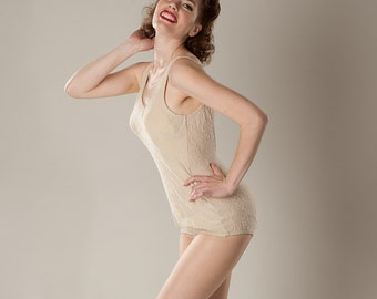 Vintage 1950s Cream Jantzen Swimsuit - One Piece Pin Up - Summer Fashions