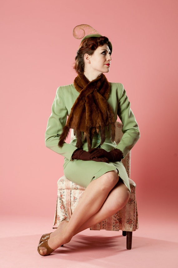 Vintage 1930s Fur Scarf Mink Tails Brown Wrap Winter Fashions