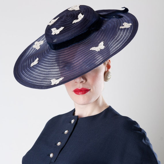 Vintage 1940s Hat Navy Horsehair Pancake Big Brim Kentucky Derby Fashions