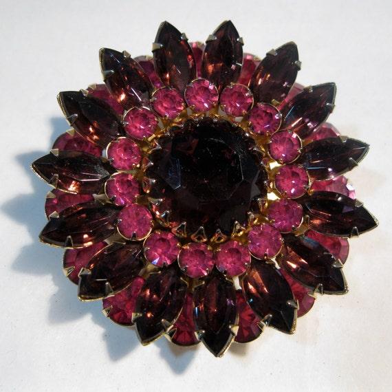 Vintage 1950s Judy Lee Brooch Pink Purple Rhinestone Pin