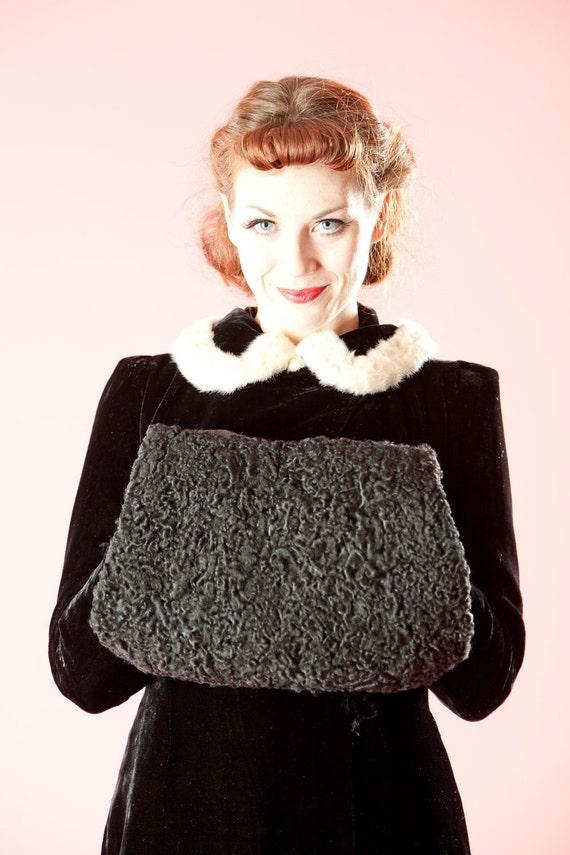 Vintage 1930s Fur Muff Black Persian Lamb 1940s Winter Fashions