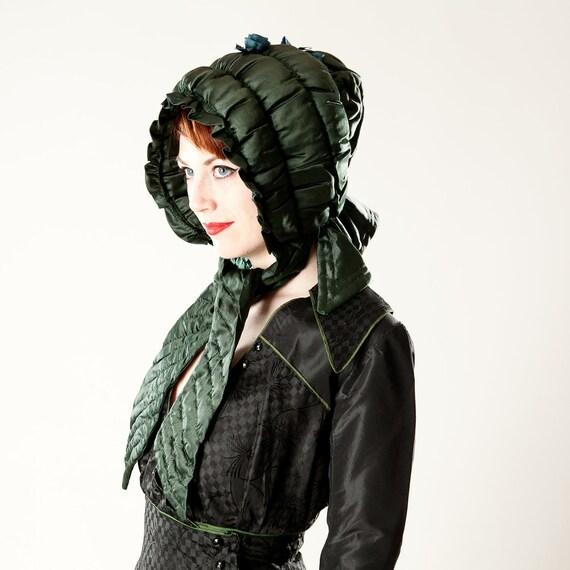 RESERVED Antique Victorian Silk Bonnet Hat - Hand Stitched Hunter Green Silk Curtain