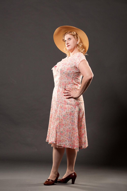 Vintage 1930s Dress Betty Baxley Frock Pink Floral Plus Size