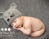 Newborn photo prop, newborn hat, newborn boy, newborn girl, newborn props, Little Mouse mohair newborn hat