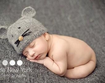 Newborn photo prop, newborn hat, newborn boy, newborn girl, newborn props, Little Mouse mohair newborn hat