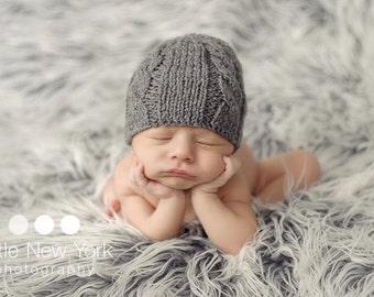 Newborn photo prop, newborn hat, newborn boy, newborn girl, newborn props, Dark grey knitted newborn cable hat