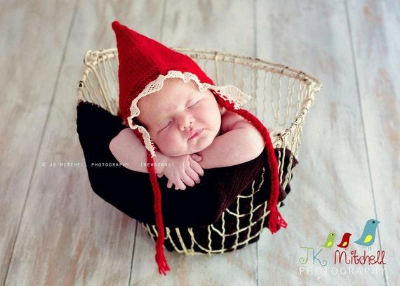 Newborn photo prop, newborn hat, newborn boy, newborn girl, knit newborn hat, newborn props, Newborn bonnet/ gnome hat with lace brim