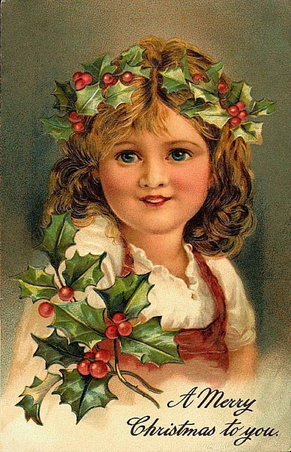Christmas Girl with Holly Digital Image Girl with Holly