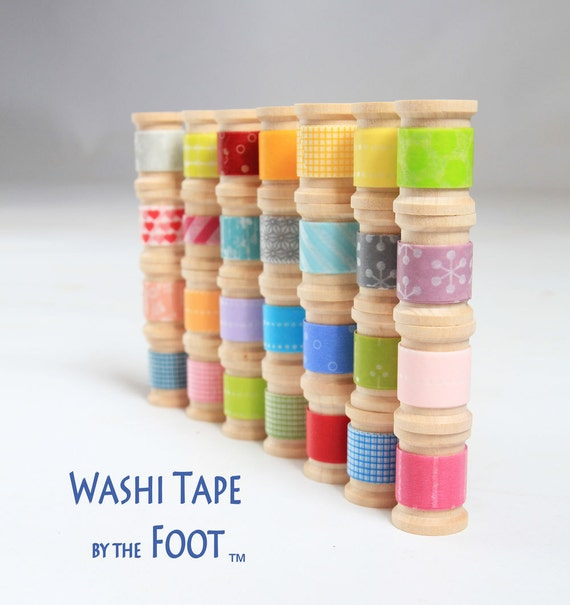 Washi Tape - 20 hand-rolled wooden spools | Choose  Colors or Grab Bag  ||Stripes / Dots / Chevron / Grid / Floral / Vintage Assorted Set