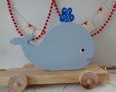 Blue Whale Wooden Pull Toy - Vintage Inspired & Heirloom Qualitiy - Seen in PBK Catalog -Made to Order