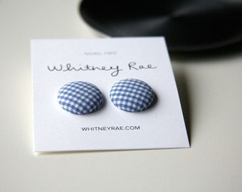 Nickel-Free Fabric Button Earrings - Periwinkle Blue Gingham