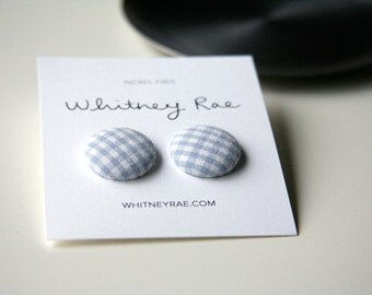 Nickel-Free Fabric Button Earrings - Light Blue Gingham