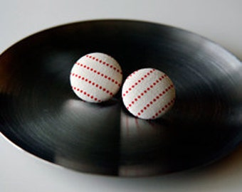 Nickel-Free Fabric Button Earrings - Ivory/Red Stripe