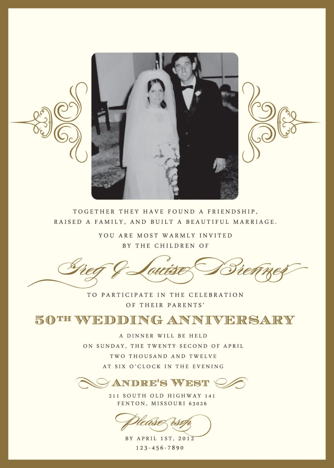 Golden 50th anniversary party invitation - Wedding anniversary invitations ...