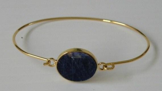 Lapis Lazuli Rose Gold Bracelet, Bezel Style Wire Wrap Bangle Bracelet, 14K Gold Filled Cuff, Bangle Stackable, Minimalist Fashion
