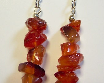 Carnelian Earrings, Brown Earrings, Carnelian Nugget Earrings, Natural Semi-precious Stone Earrings, Drop Earrings, Silver