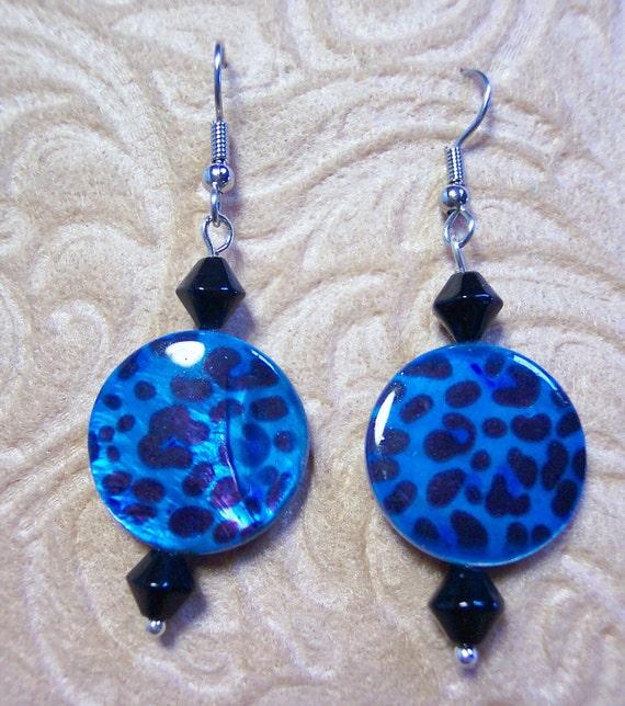 Blue Leopard Mother of Pearl Earrings