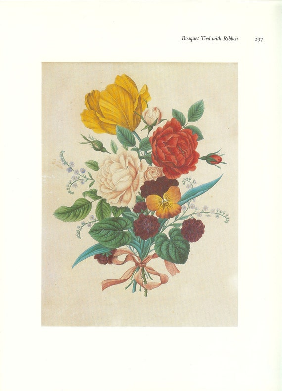 CLEARANCE Vintage Book Print by Prestele of Bouquet Tied with Ribbon