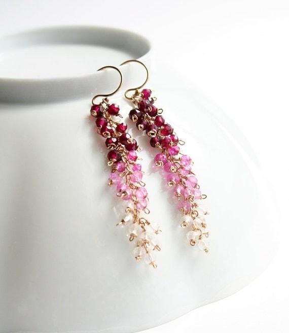 Pink Earrings, Ombre Jewelry, Gemstone Jewelry