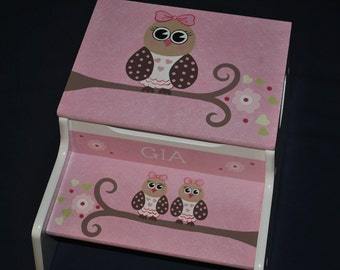 Kids Personalized 2 Step Stool and Storage Bench  She's A Hoot