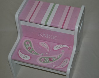 Kids Personalized 2 Step Stool - Custom Paisley Design